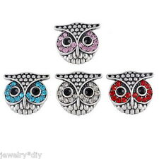 Wholesale JD Owl Crystal Rhinestone Snap Buttons Regualr Mixed  Necklace DIY