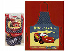 NEW DISNEY PIXAR CARS APRON KITCHEN SET DISH TOWEL POT HOLDER OVEN MITT