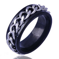 mens jewelry Stainless Steel ring Black band silver chain Ring Size 9/10/11