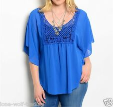"Plus Size Ladies Sheer Lace ""Royal Blue"" Crochet Top-PT4-CN222795"