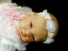 Romany Baby Bling  White  Headband  with Pink Rosebuds  & Pearls - age 1 to 3yrs