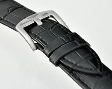 Replacement BREITLING 22/24mm Black Leather Watch Strap Stainless Steel Buckle