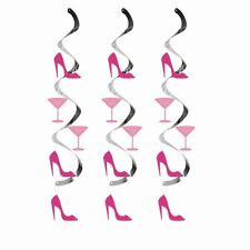 GIRLS PINK HEELS & MARTINI COCKTAIL GLASS BIRTHDAY HANGING DECORATIONS PACK 5