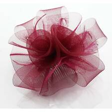 burgundy FASCINATOR HAIR feather comb FLOWER HATINATOR NM 86 WEDDING corsage