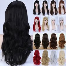 Multiple Full Wigs Long Thick Curly Wave Straight Brown Blonde Grey White Wig g6