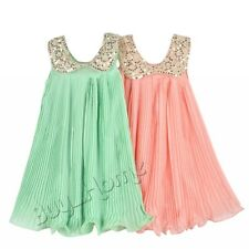 Little Girls Sleeveless Sequined Lapel Pleated Chiffon Party Dress SZ 3-7