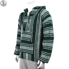 Hoodie Mexican Baja Jerga Festival Hooded Hippy Jumper Surf hoody Green White
