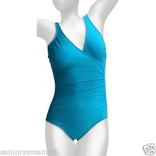 NEW Miraclesuit Size 14 Turquoise Blue Wrap Surplice One-Piece Swimsuit $122 NWT