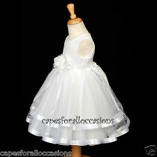 WHITE FLOWER GIRL DRESS TULLE PAGEANT BRIDEMAID TODDLER WEDDING BRIDAL 2 4 5 6 8