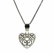 FASHIONS FOREVER STERLING SILVER DESIGNER HEART NECKLACE-PENDANT, MADE IN UK