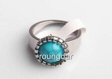 100% NEW Blue Turquoise Fashion Stainless Steel Ring Size 17-20mm