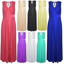Womens Ladies Pleated Sleeveless Full Length Tie Back V Neck Flared Maxi Dress