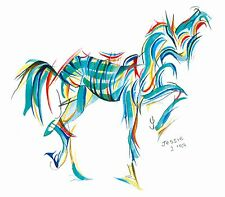 Modern horse print 'Jade' by Jessica Hill A5 WAS £10.00 !!