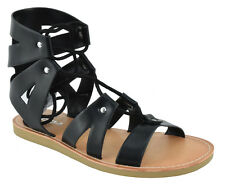 Soda Women Gladiator Flat Summer Caged Studded Strap Sandals Lace Up Black TROUT