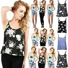 Womens Ladies Sleeveless Floral Cami sole Strappy Flare Swing Top Vest Plus Size