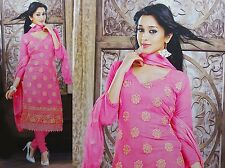 Pink Unstitched Salwar Kameez Embroidered ChiffonFabric Indian Straight Suit