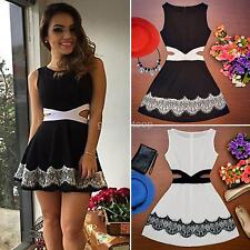 Sexy Women Navy Bodycon Dress Ladies V Neck Floral Lace Evening Party Mini Dress