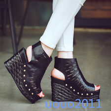 Super High Wedge Heel Womens Open Toe Leather Platform Sandals Hollow Out Shoes