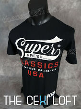 NEW MENS Super Fresh Society Classic Logo EXTENDED T-SHIRT in Black *SLIM FIT*
