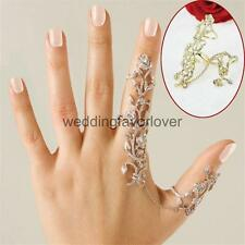 Women Silver Gold Crystal Double Full Finger Knuckle Armor Punk Rock Gothic Ring