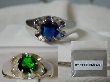 1ct blue or green helenite 925 sterling silver ring size 9 mt st helens ash