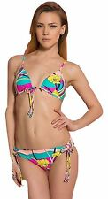 BNWT Roxy Boost Tie 70's Lowrider Bikini Set, Multi-colour Floral Sz M UK 10
