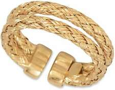 14 Karat Gold Plated Double Woven Band Ring 925 Sterling Silver