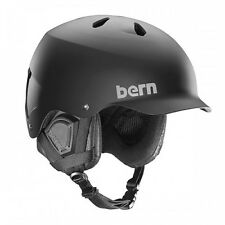 2016 NIB MENS BERN WATTS SNOW HELMET $120 matte black audio ready