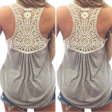 NEW Women Summer Casual Lace Vest Top Splice Blouse Sleeveless Tops T-Shirt