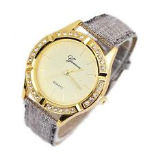 Luxury Geneva Women Leather Watch Stainless Steel Diamond Quartz Wrist Watches