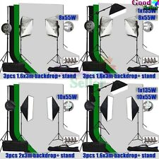 Photography Softbox Continuous Lighting Soft Box Boom Arm 3 Backdrops Stand Kit