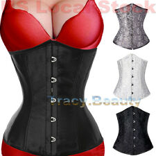 Sexy Steel Busk Waist Training Corset Cincher Satin shaper Underbust Top Lace up