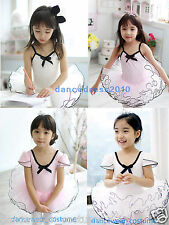 New Girls Party Ballet Tight Tutu Gymnastics Body Leotard Skirt Dance Dress 3-8Y