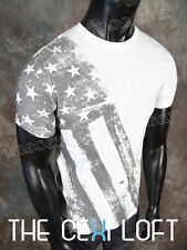 NEW MENS HELIX Brand GRAPHIC T-SHIRT White with USA Flag Prints SLIM FIT