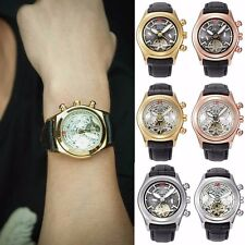 Mens Skeleton Tourbillon Stainless Steel Automatic Mechanical Wrist Watch Black