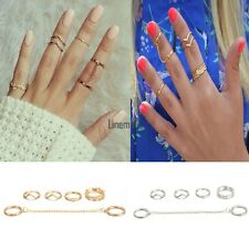 6pcs / Set Gold Urban Rings Crystal Above Knuckle stacking Band Midi Mid Ring LM