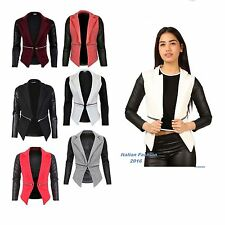 New Women Quilted Leather Look Long Sleeve Zip Waterfall Blazer Jacket Top 8-14.