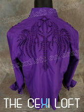 Mens HOUSE OF LORDS Button Shirt PURPLE Embroidered Purp Stones Roar with Class