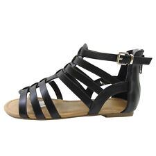 Soda IA65 Girls' Caged Gladiator Buckled Ankle Strap Back Zip Flat Sandals TAUPE