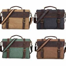 Vintage Canvas Leather Messenger Traveling Briefcase Shoulder Laptop Bag