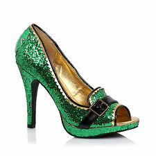 "1031 414-PATTY Women's 4"" Heel Green Glitter Slip On Buckle Strap Peep Toe Pump"