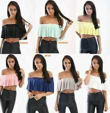 New Womens Ladies Off Shoulder Bardot Frill Ruffle Cropped Top Bralet Top 6-14.
