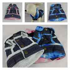 Small pet dog winter 100%  denim tank  jacket with faux fur lining & soft fleece