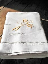 Vintage French, Metis Linen, Embroidered Flat Sheet with Lattice work