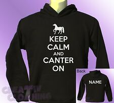 Black Hoodie KEEP CALM and CANTER ON horse ride riding PERSONALISED with name