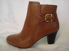 Clarks Bendables Light Brown Gold Buckle Ankle Boots Wide Narrow NEW