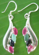 "100% REAL 925 sterling silver ""Real stone"" RUBY SAPPHIRE EMERALD earrings WOMEN"
