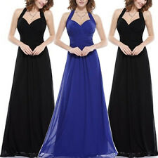 New Design Long Chiffon Bridesmaid Evening Formal Gown Halter Party Prom Dresses