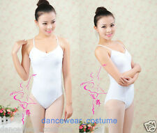 New Ladies Yoga Ballet Tight Gymnastics Dance Leotard Body White Cotton & Lace