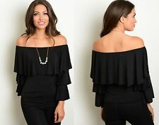 WOMENS LADIES BELL SLEEVE BLACK OFF THE SHOULDER GYPSY STYLE TOP SIZE 8 10 12